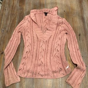 American Eagle Pink Chunky Knit Sweater Hooded M